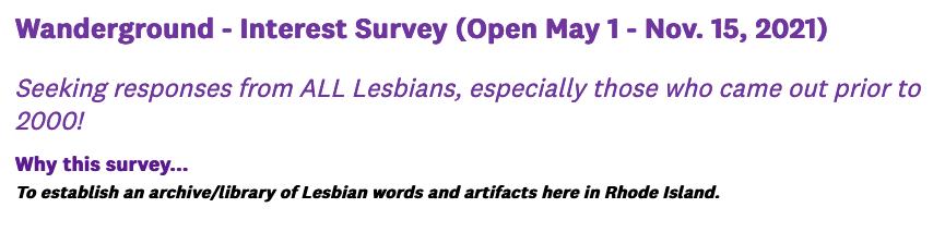Wanderground Interest Survey is open